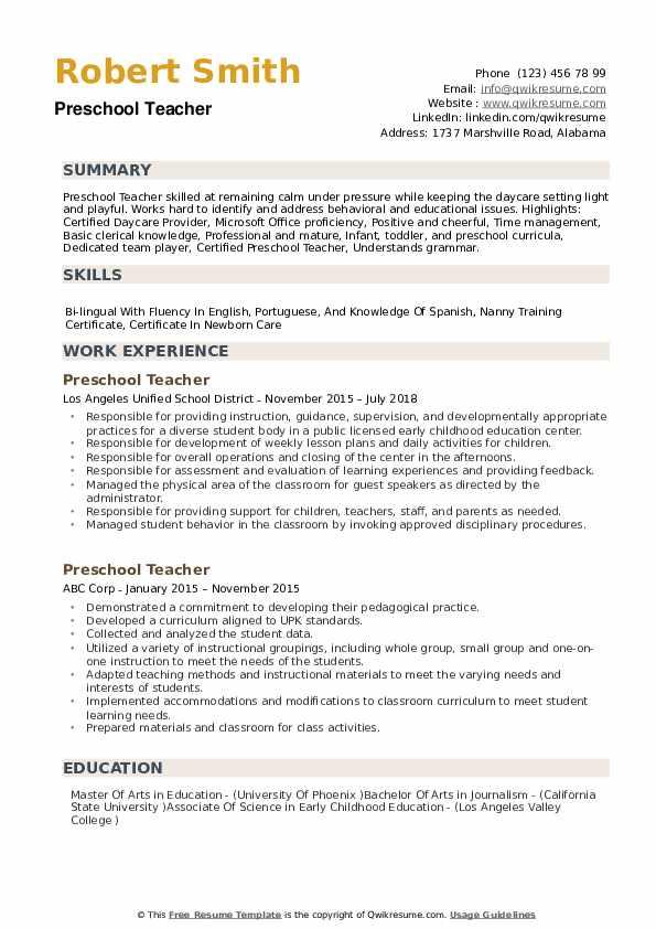 free daycare resume samples