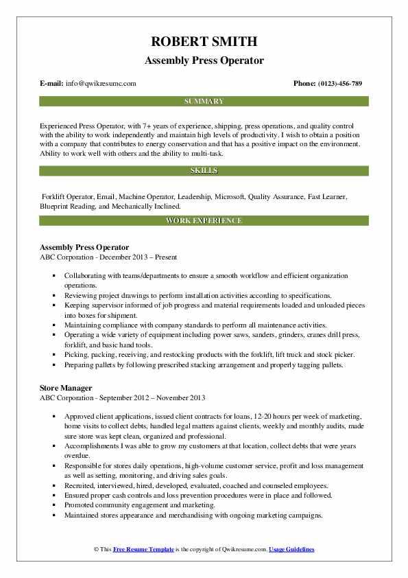 operator job description printing machine