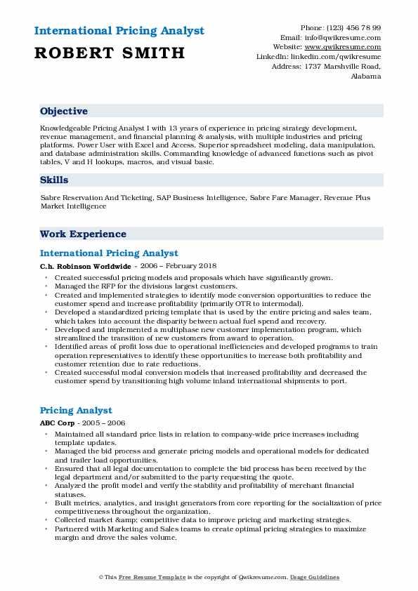 Pricing Analyst Resume Samples QwikResume