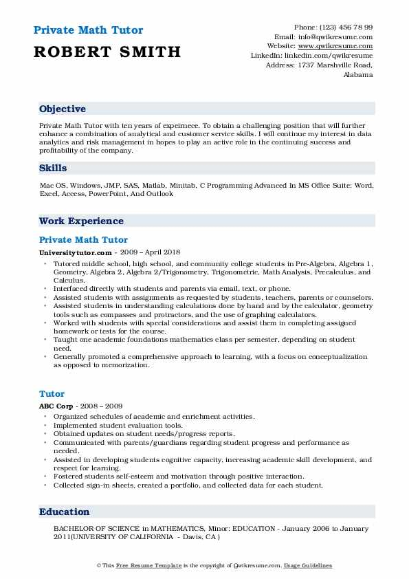resume job description for tutor
