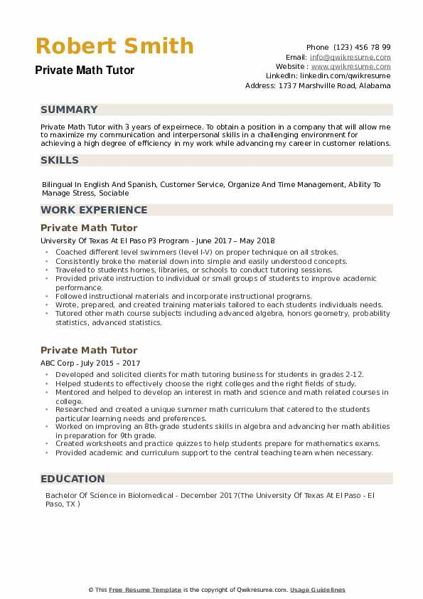 Private Math Tutor Resume Samples QwikResume