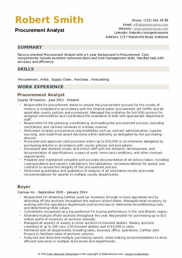 Procurement Analyst Resume Samples QwikResume