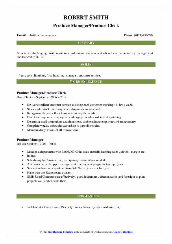 resume samples for produce clerk skills