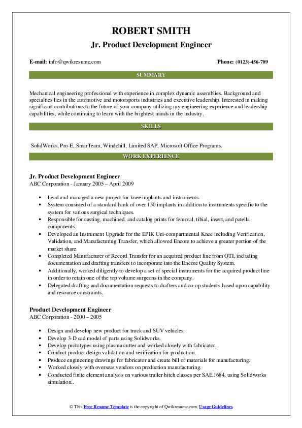 product engineer resume example automotive dynamic sealing