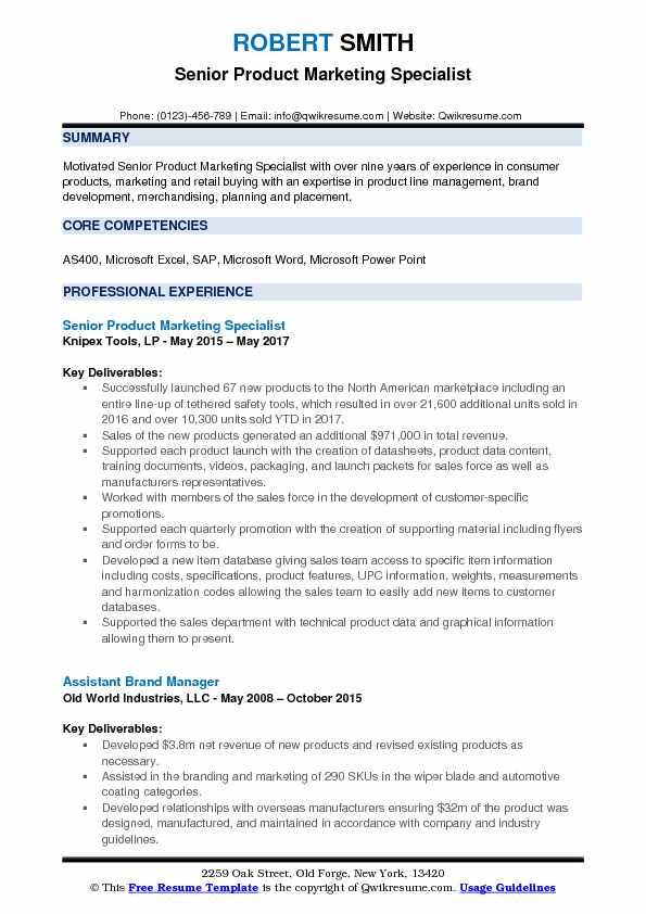 Product Marketing Specialist Resume Samples QwikResume