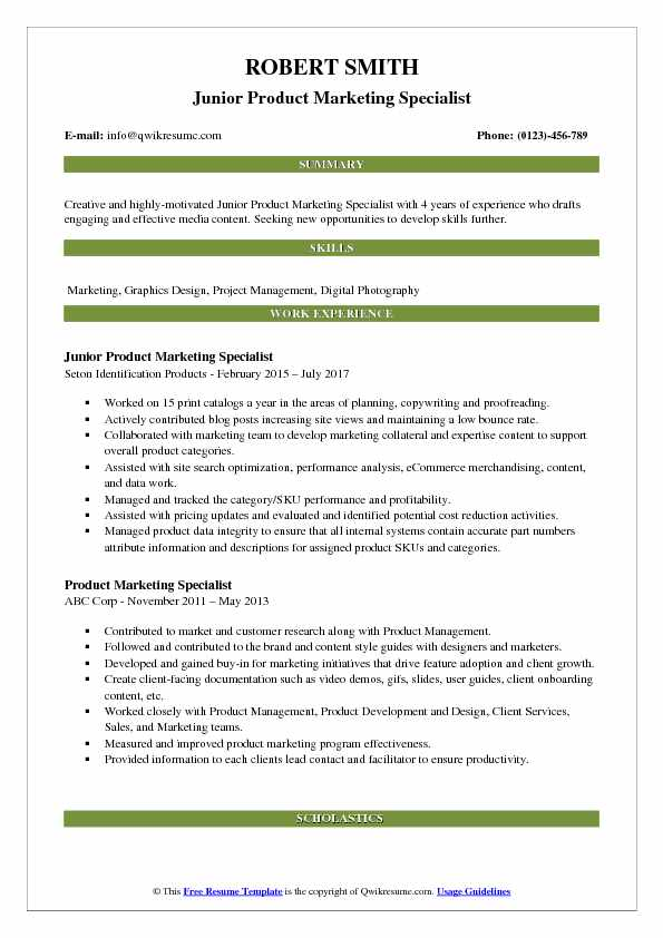 Product Marketing Specialist Resume Samples QwikResume