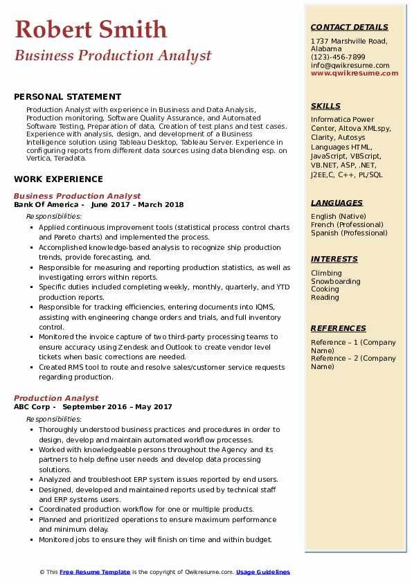 Production Analyst Resume Samples QwikResume