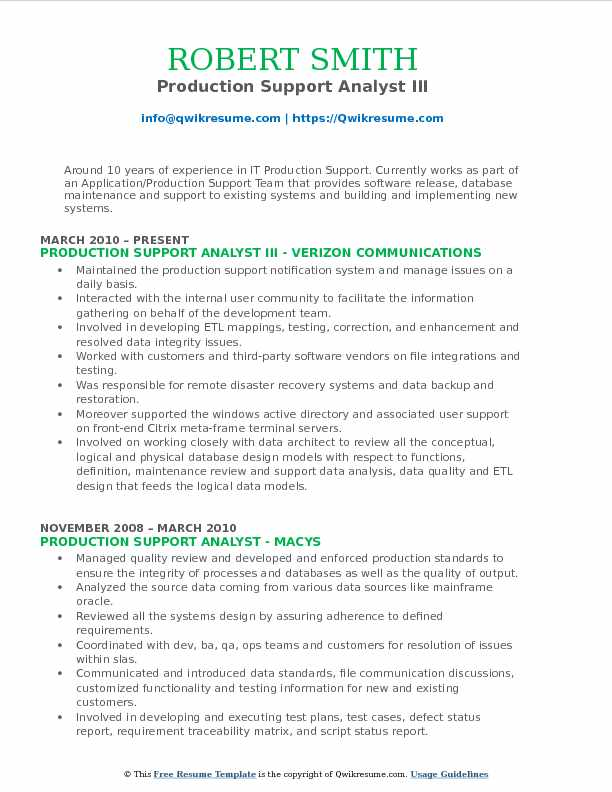 Production Support Analyst Resume Samples QwikResume