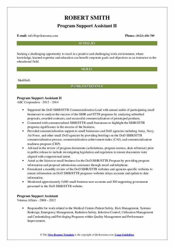resume template for sbir