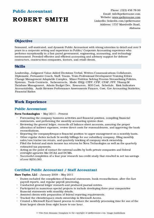 Public Accountant Resume Samples QwikResume