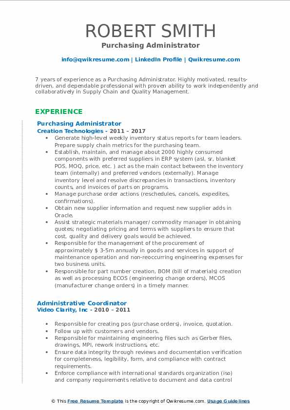 Purchasing Administrator Resume Samples QwikResume
