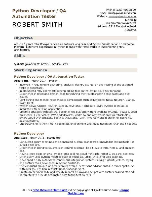 python automation tester sample resume