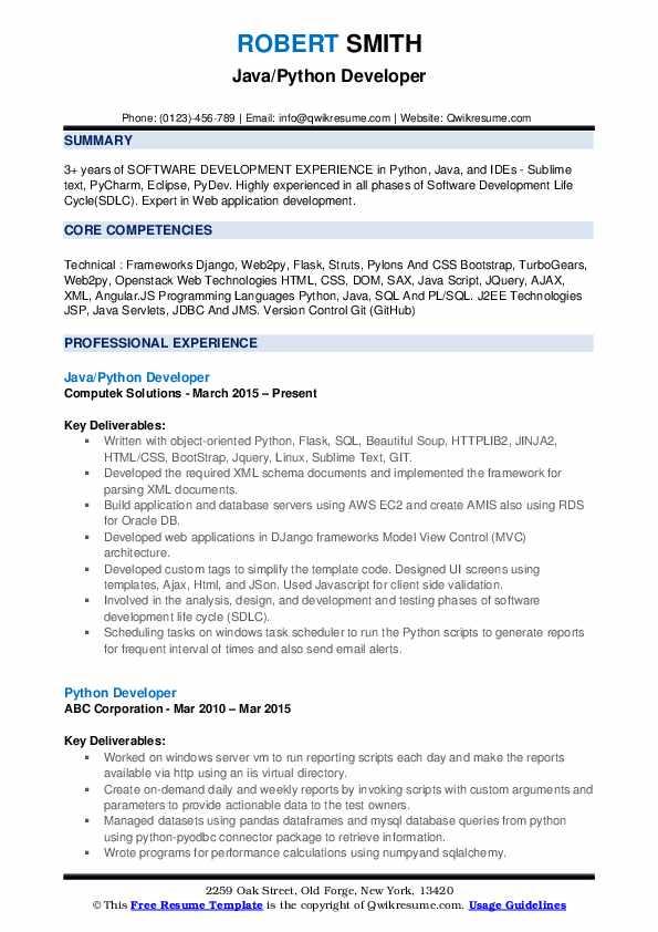 sql and python resume sample