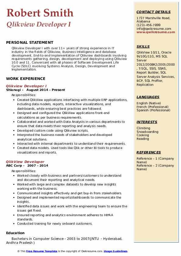 qlikview developer sample resume