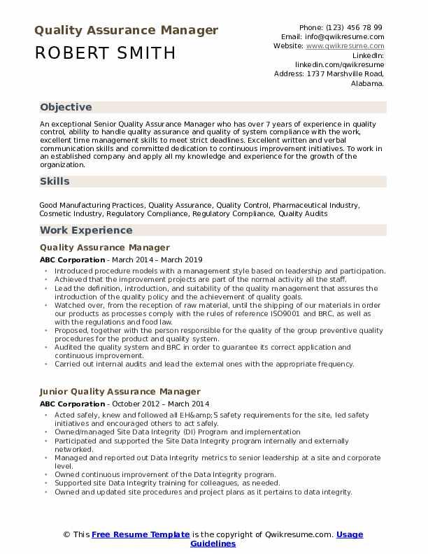 pharmaceutical qa resume template