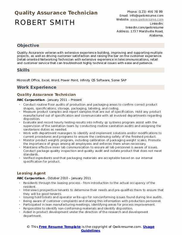customer service quality assurance resume