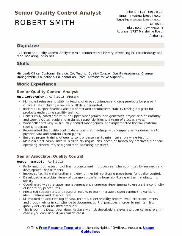 quality control description resume