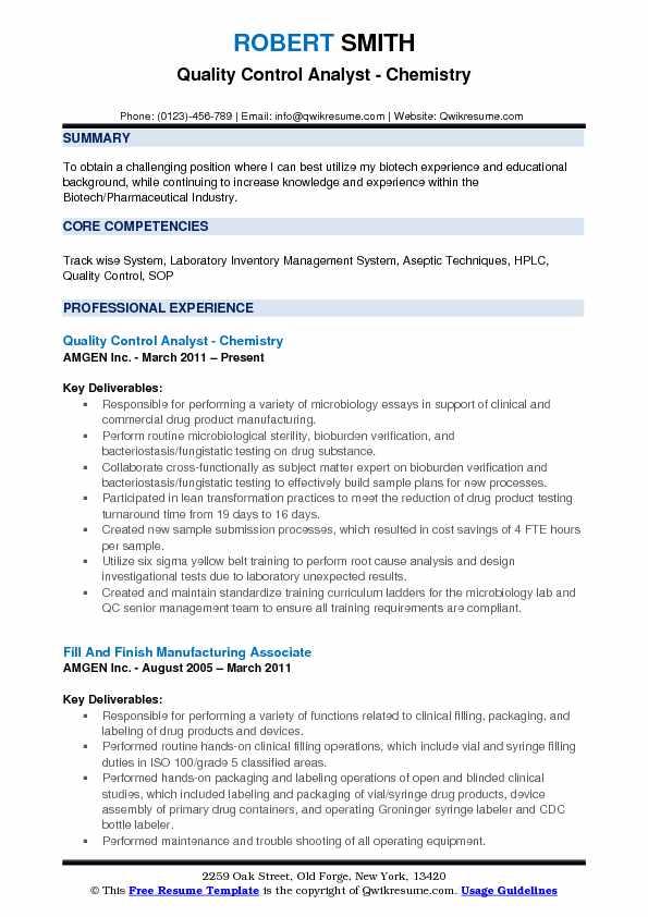 quality control pharmaceutical resume sample