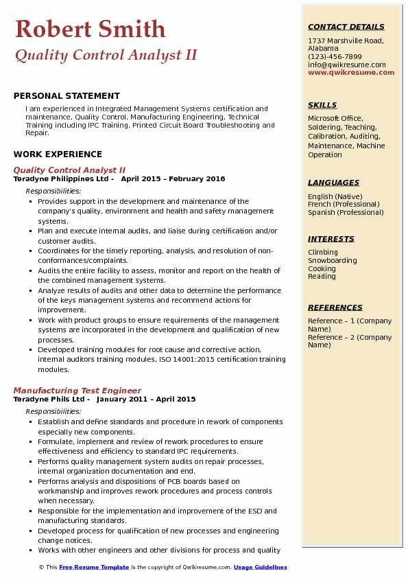 Quality Control Analyst Resume Samples QwikResume - quality control sample resume