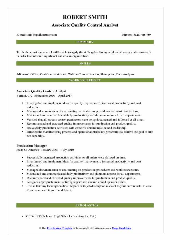 Quality Control Analyst Resume Samples QwikResume - production analyst sample resume