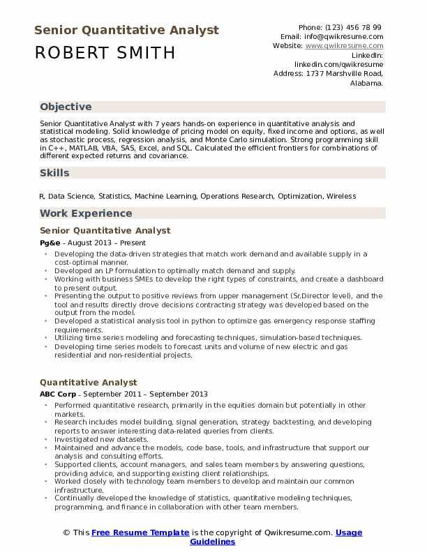 Quantitative Analyst Resume samplingforeignluxury
