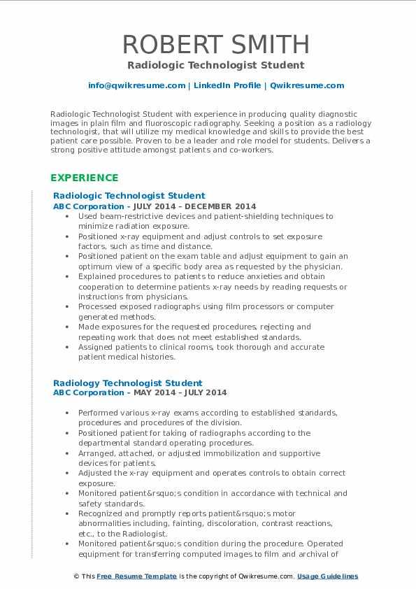 sample resume radiologic technologist student