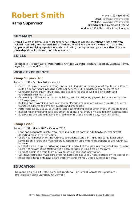 samples of ramp agents resumes