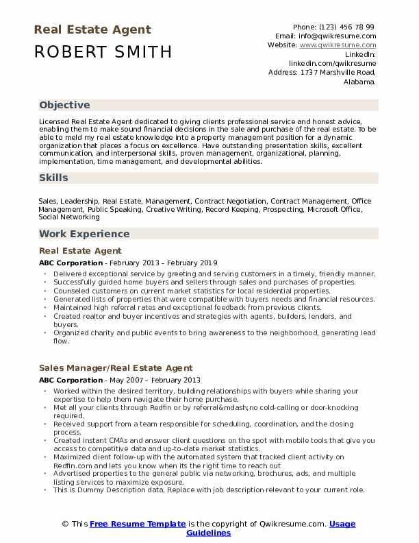 real estate resume sample pdf