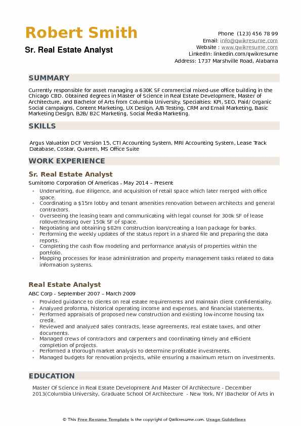 Real Estate Analyst Resume Samples QwikResume