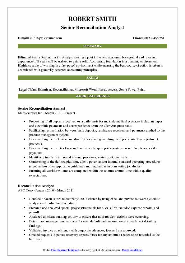 Reconciliation Analyst Resume Samples QwikResume - reconciliation analyst sample resume