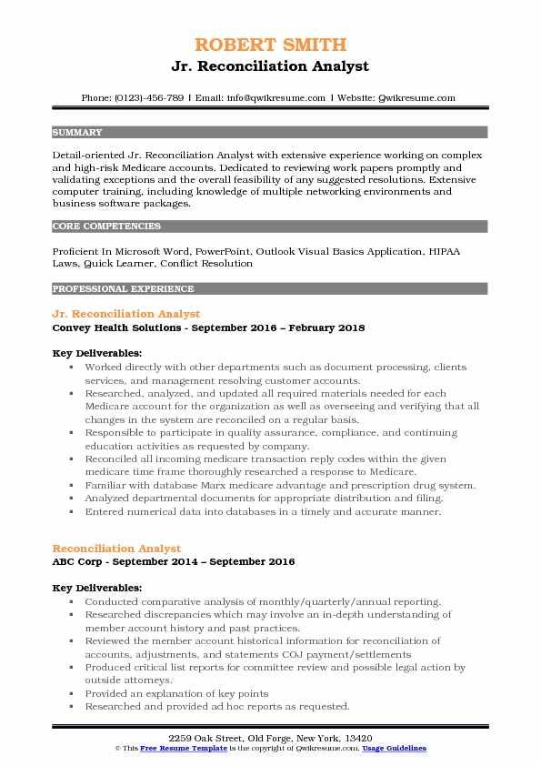 Reconciliation Analyst Resume Samples QwikResume - medicare auditor sample resume