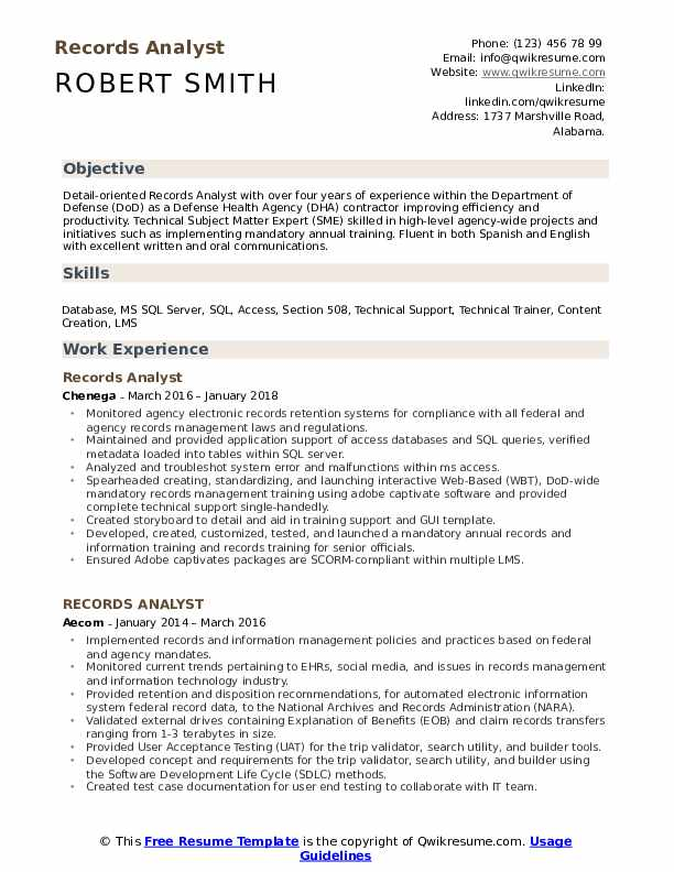 Records Analyst Resume Samples QwikResume