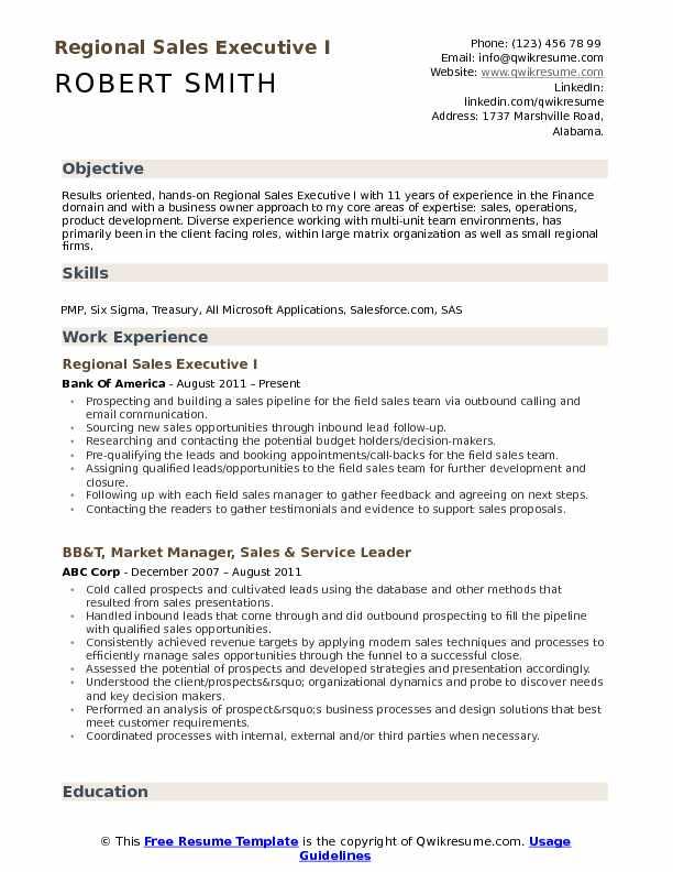 Regional Sales Executive Resume Samples QwikResume