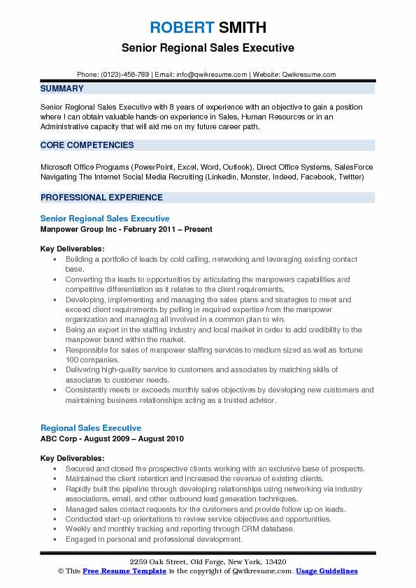 sample executive summary for sales resume