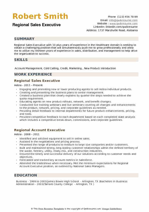 Regional Sales Executive Resume Samples QwikResume
