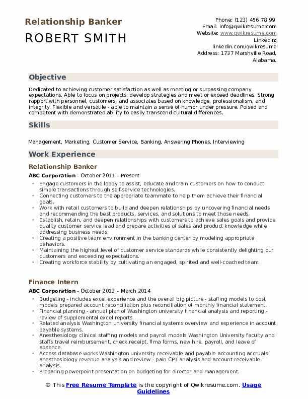relationship banker resume samples