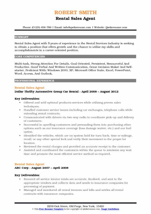 Rental Sales Agent Resume Samples QwikResume - Car Rental Agent Sample Resume