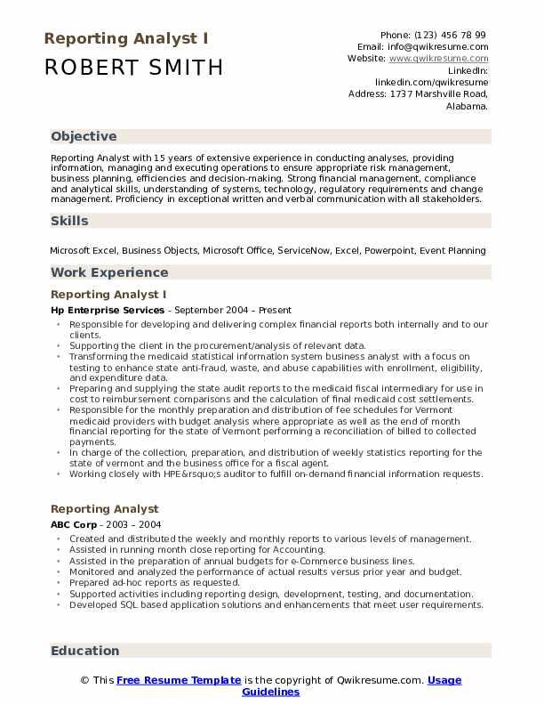 Reporting Analyst Resume Samples QwikResume