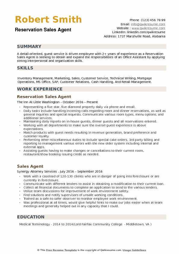Reservation Sales Agent Resume Samples QwikResume
