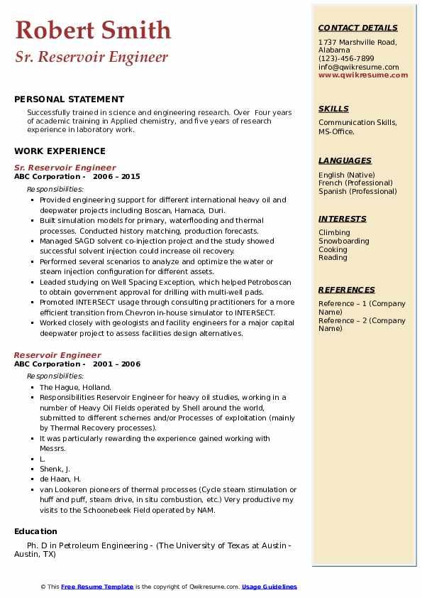 reservoir engineer sample resume