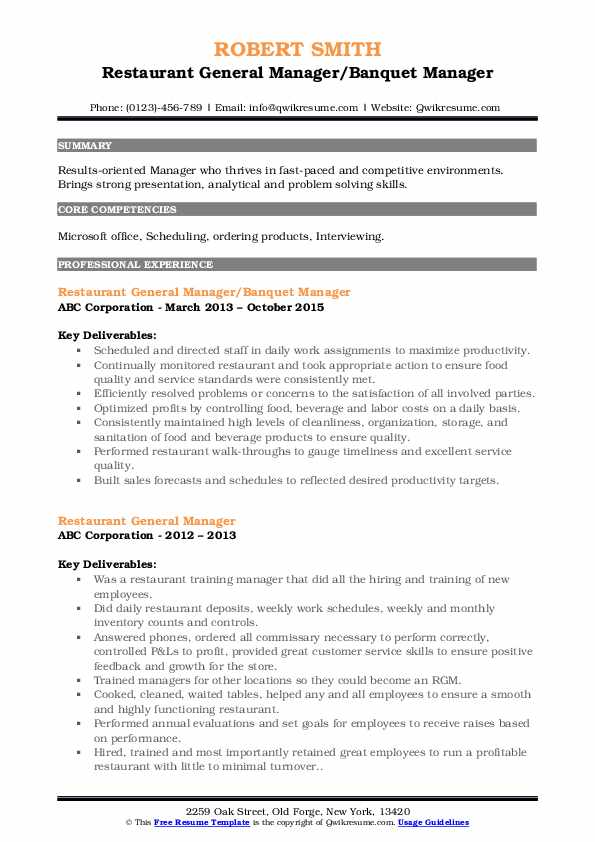 sample resume of a restaurant general manager