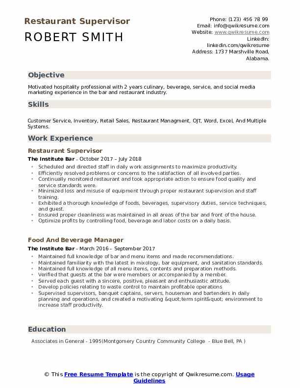 resume samples for restaurant jobs