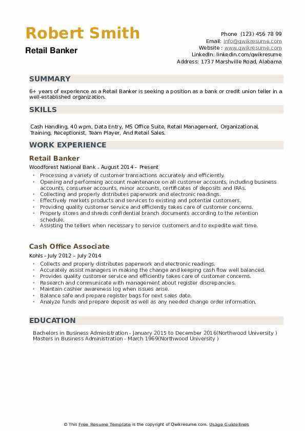 Retail Banker Resume Samples QwikResume