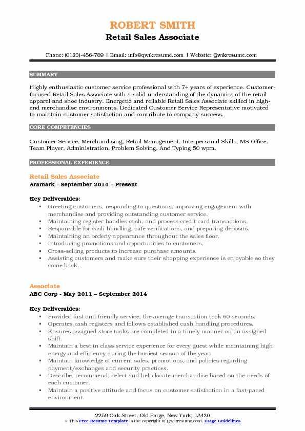 Retail Sales Associate Resume Samples QwikResume