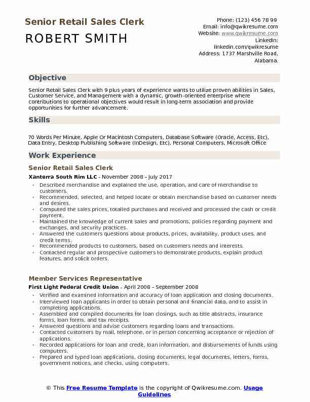 Retail Sales Clerk Resume interview questions for retail sales - retail sales clerk sample resume