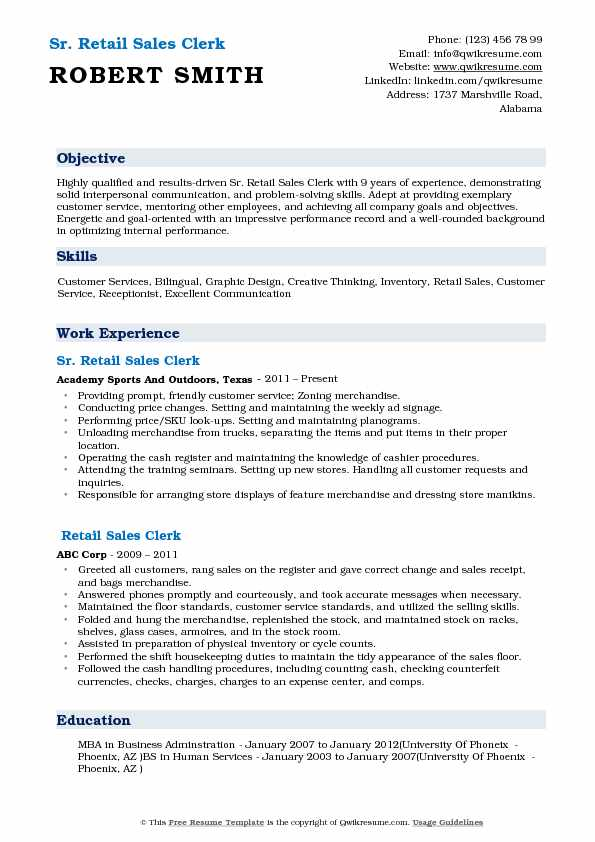 Retail Sales Clerk Resume Samples QwikResume