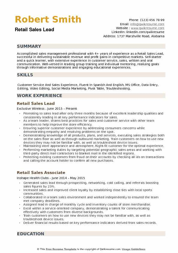 Retail Sales Lead Resume Samples QwikResume