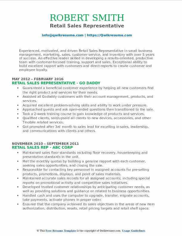 retail sales representative resume - Pinarkubkireklamowe