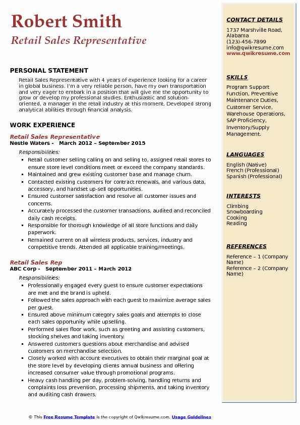 Retail Sales Rep Resume Samples QwikResume