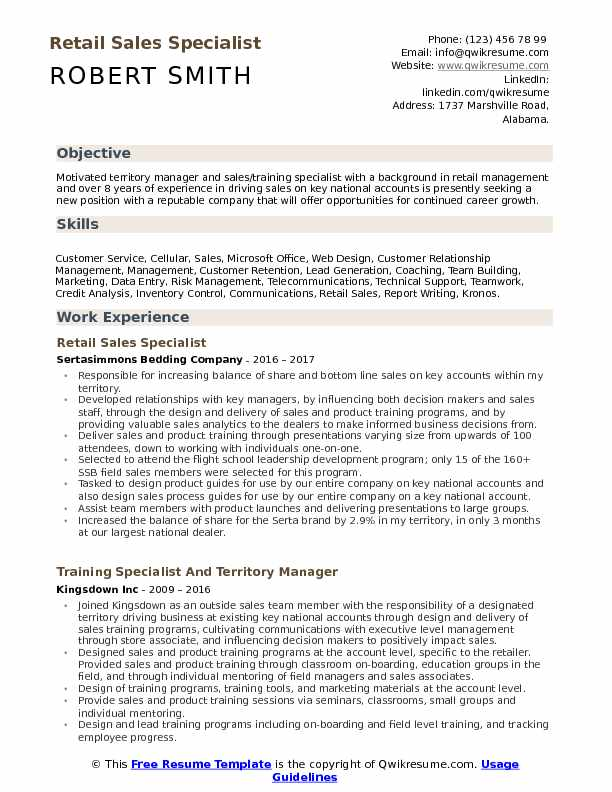 Retail Sales Specialist Resume Samples QwikResume